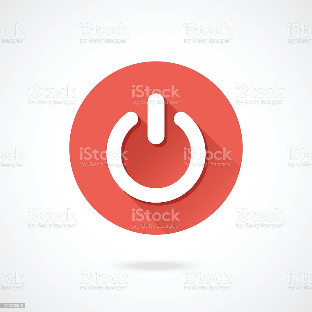 Shut down icon. Vector round shutdown icon with long shadow vector art illustration