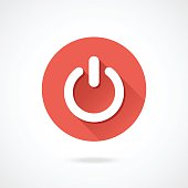 Shut down icon. Vector round shutdown icon with long shadow