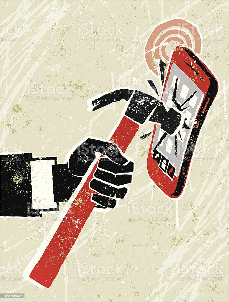 Shut up! Cellphone being hit with a hammer royalty-free stock vector art