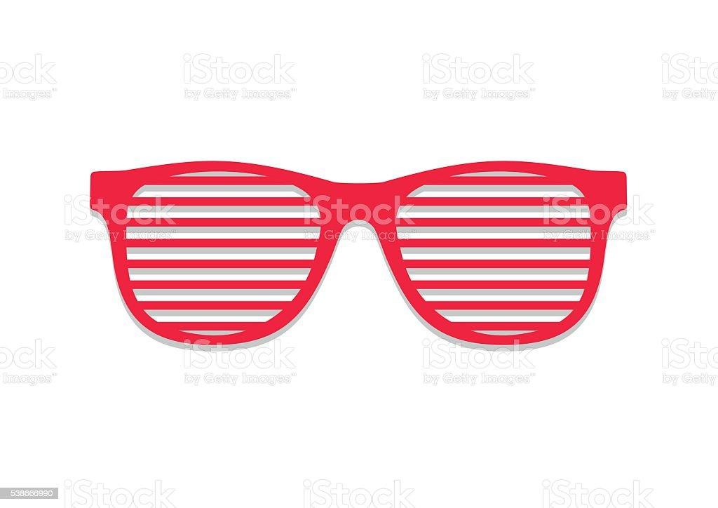 Shutter glasses. Concept brindled / latticed sunglasses, summer youth glasses red. vector art illustration