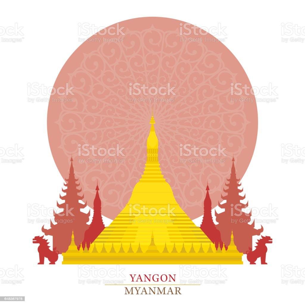 Shwedagon, Yangon, Myanmar, with oriental background vector art illustration