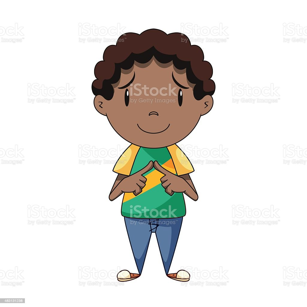 Shy boy vector art illustration
