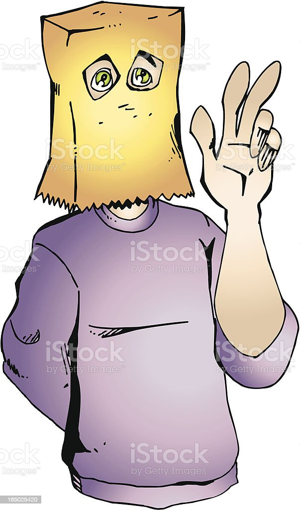 Shy man with bag on the head VECTOR royalty-free stock vector art
