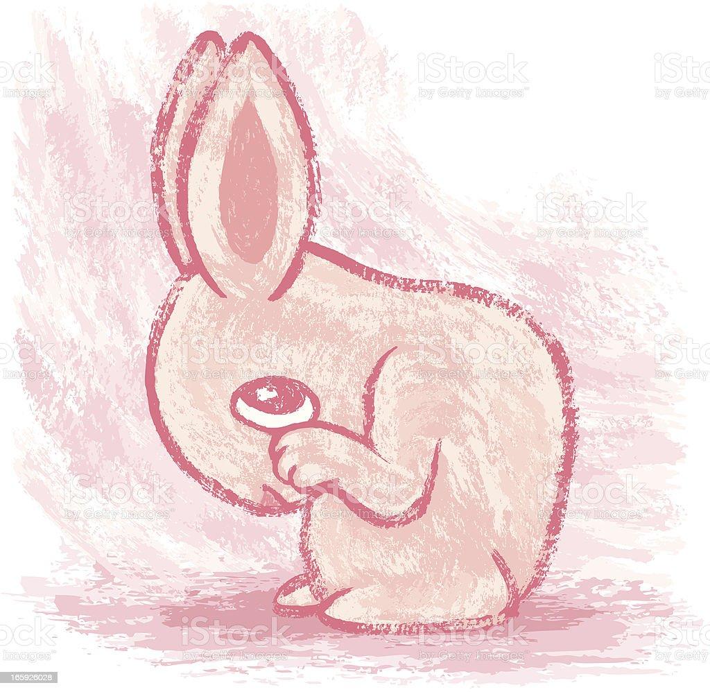 Shy rabbit vector art illustration