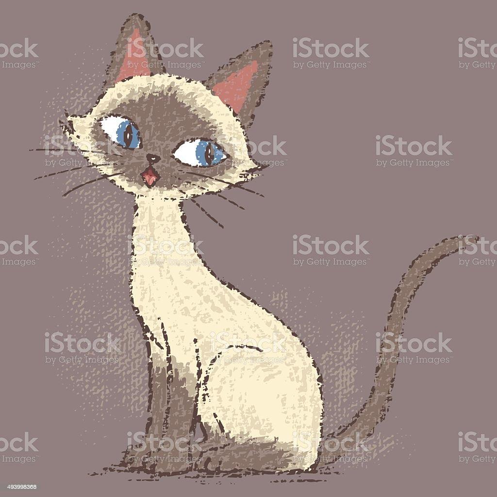 Siamese cat sitting vector art illustration