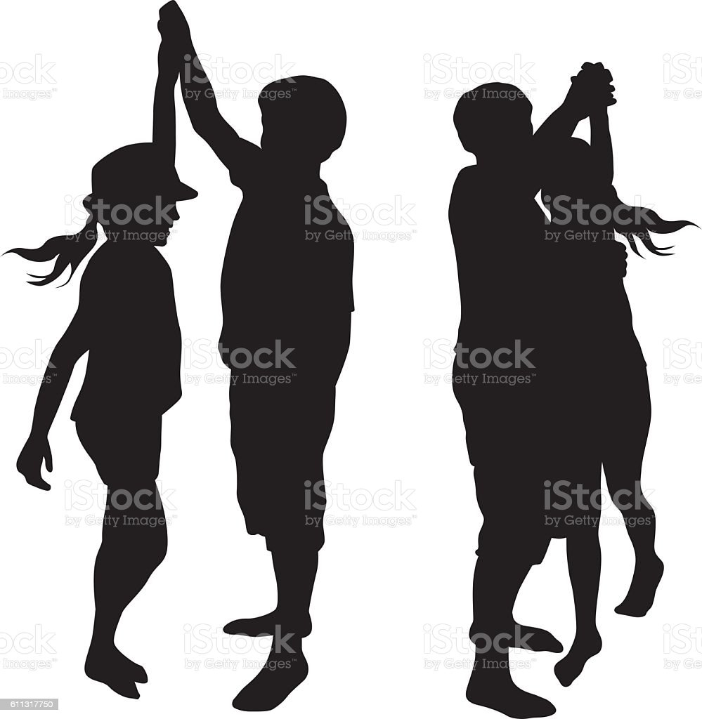 Sibblings Silly Dancing Silhouette Vector vector art illustration