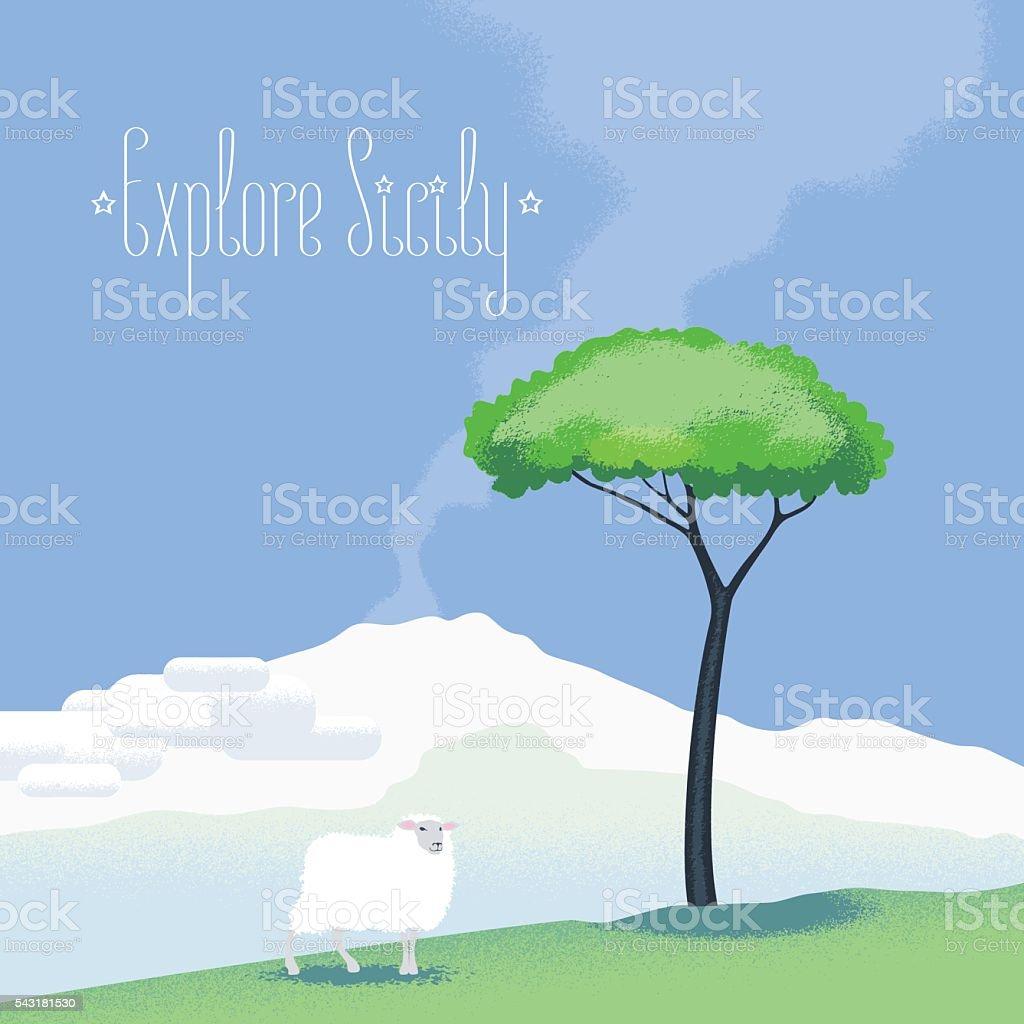 Sicily view vector illustration, design element with Etna volcano vector art illustration