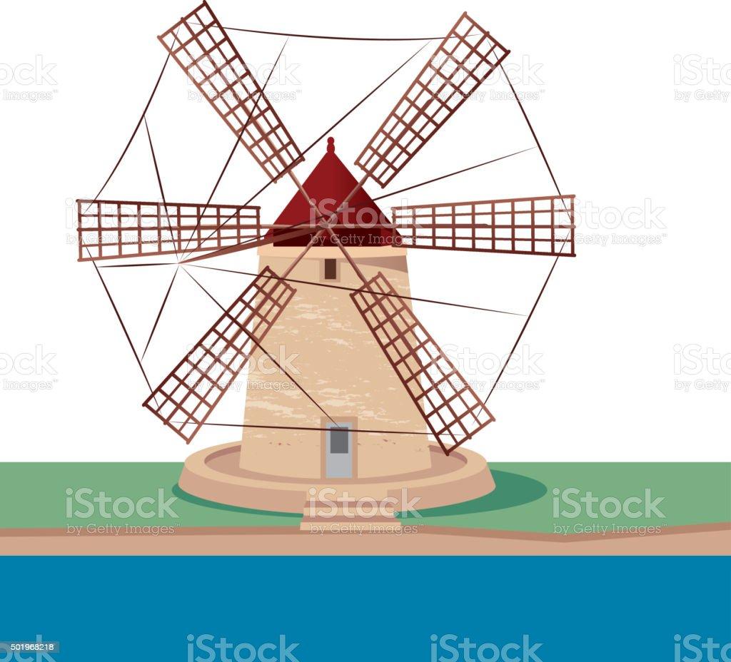 Sicily Windmill vector art illustration