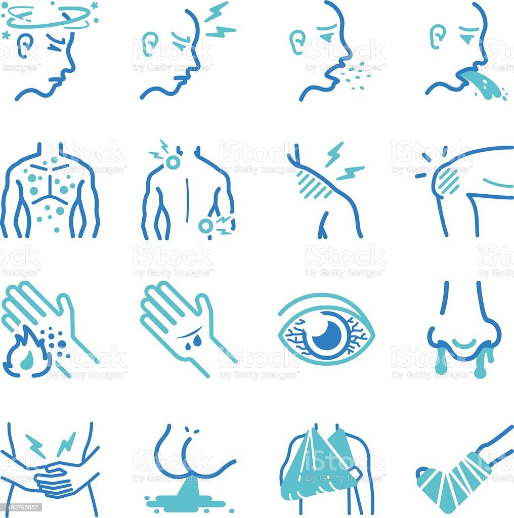Sick and disease icons set vector art illustration