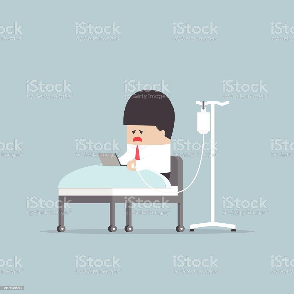 Sick businessman working hard in hospital bed vector art illustration