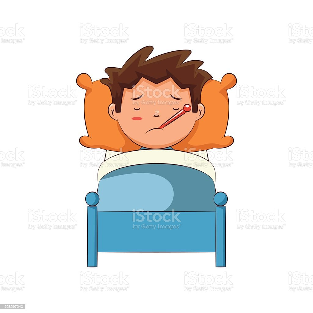 Sick child in bed, vector art illustration
