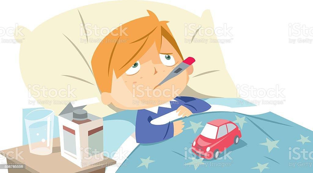Sick child in bed vector art illustration