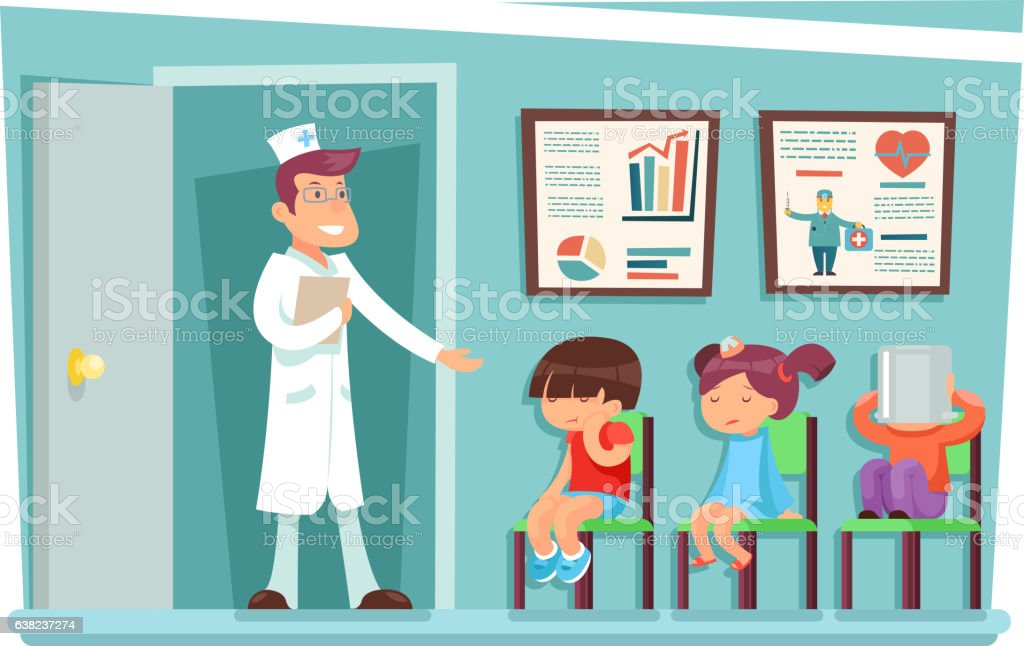 Sick children at doctor sitting on chairs cartoon characters vector vector art illustration