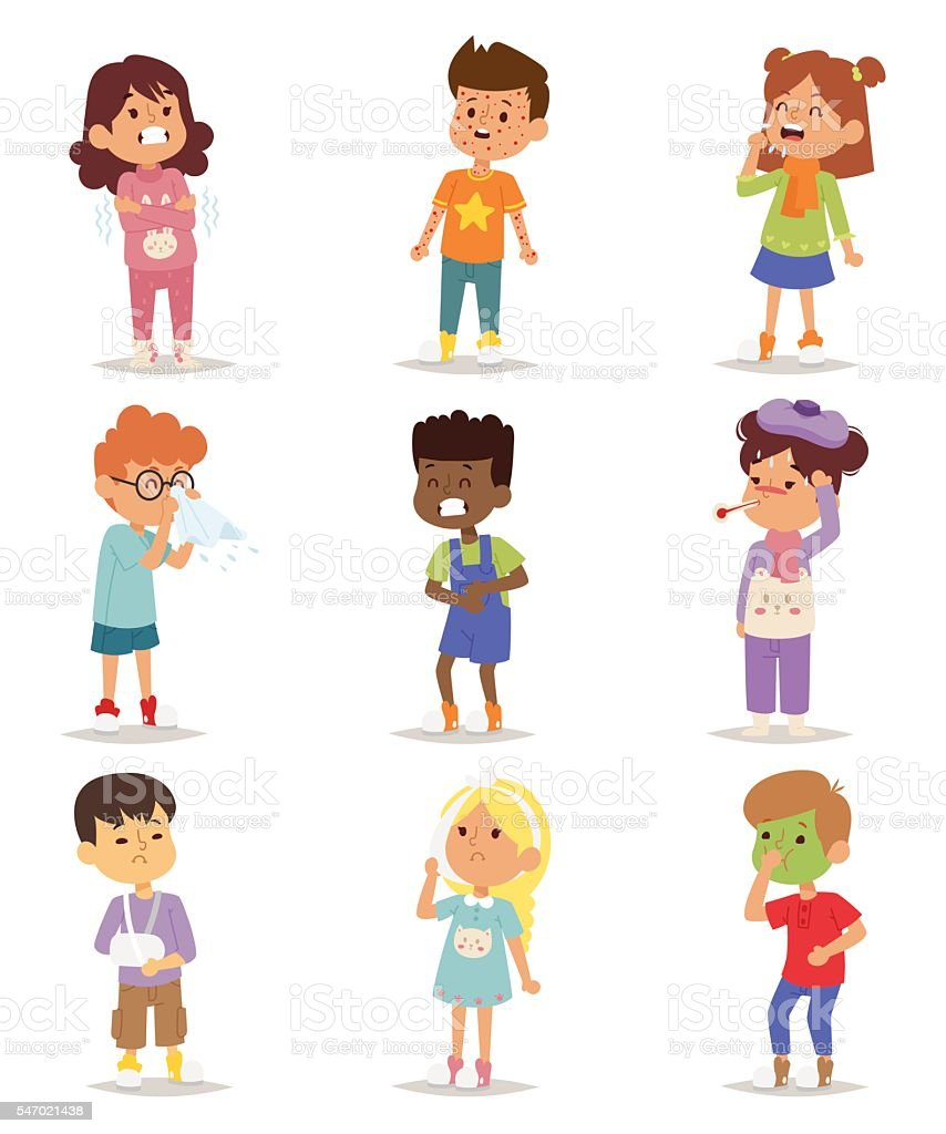 Sick children vector set. vector art illustration