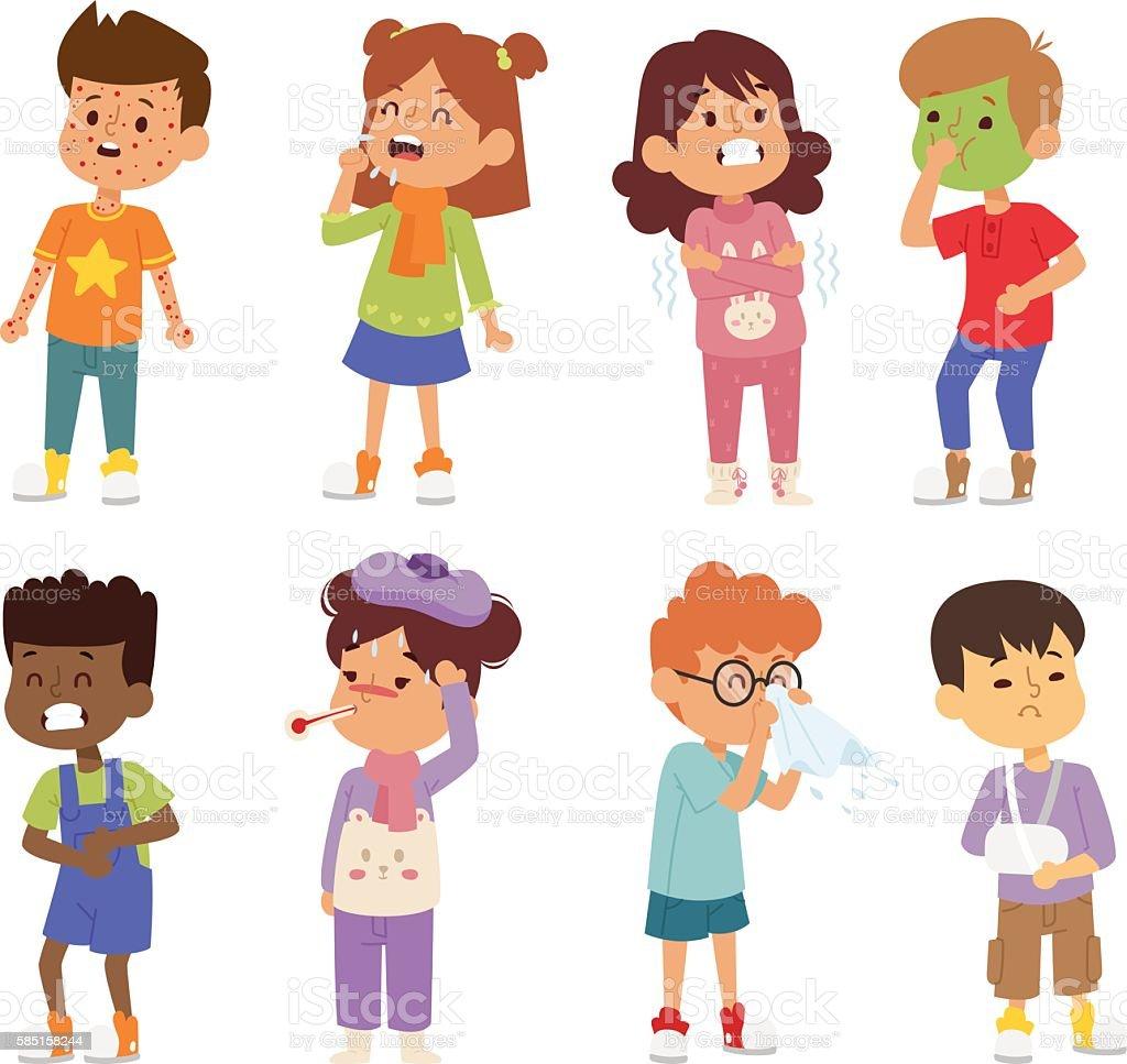 Sick children vector set. vector art illustration
