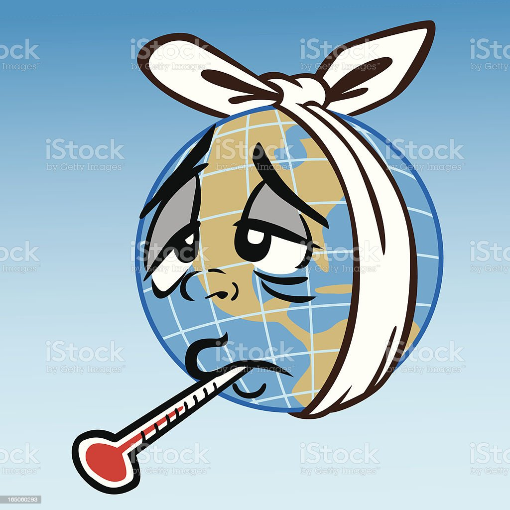 Sick Earth With Flu vector art illustration
