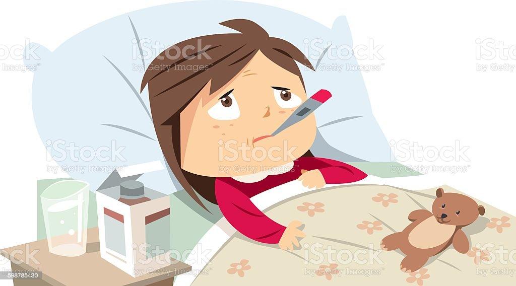Sick girl in bed vector art illustration