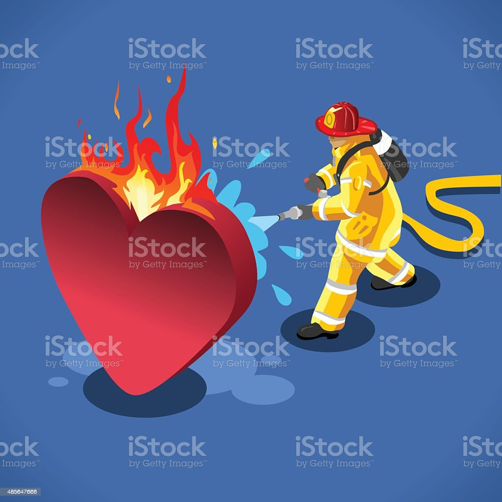 Sick Heart Concept Isometric vector art illustration