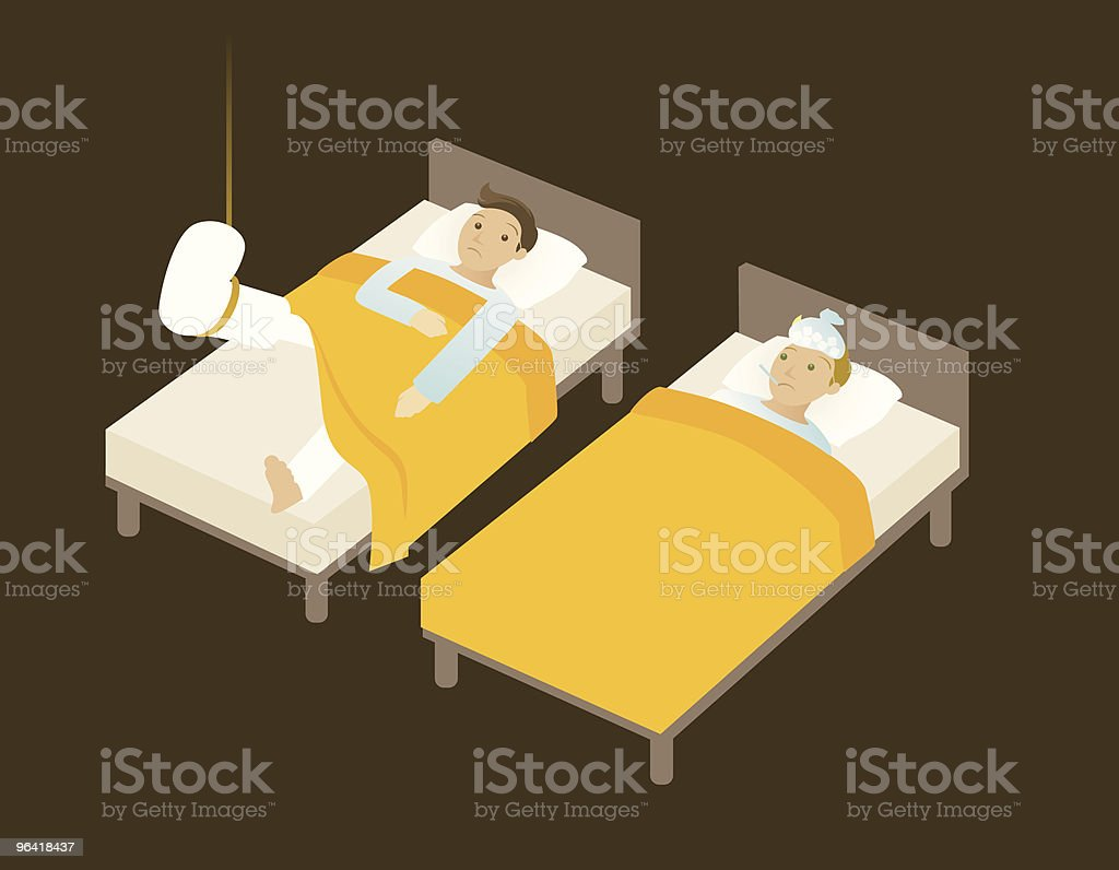 sick in bed royalty-free stock vector art