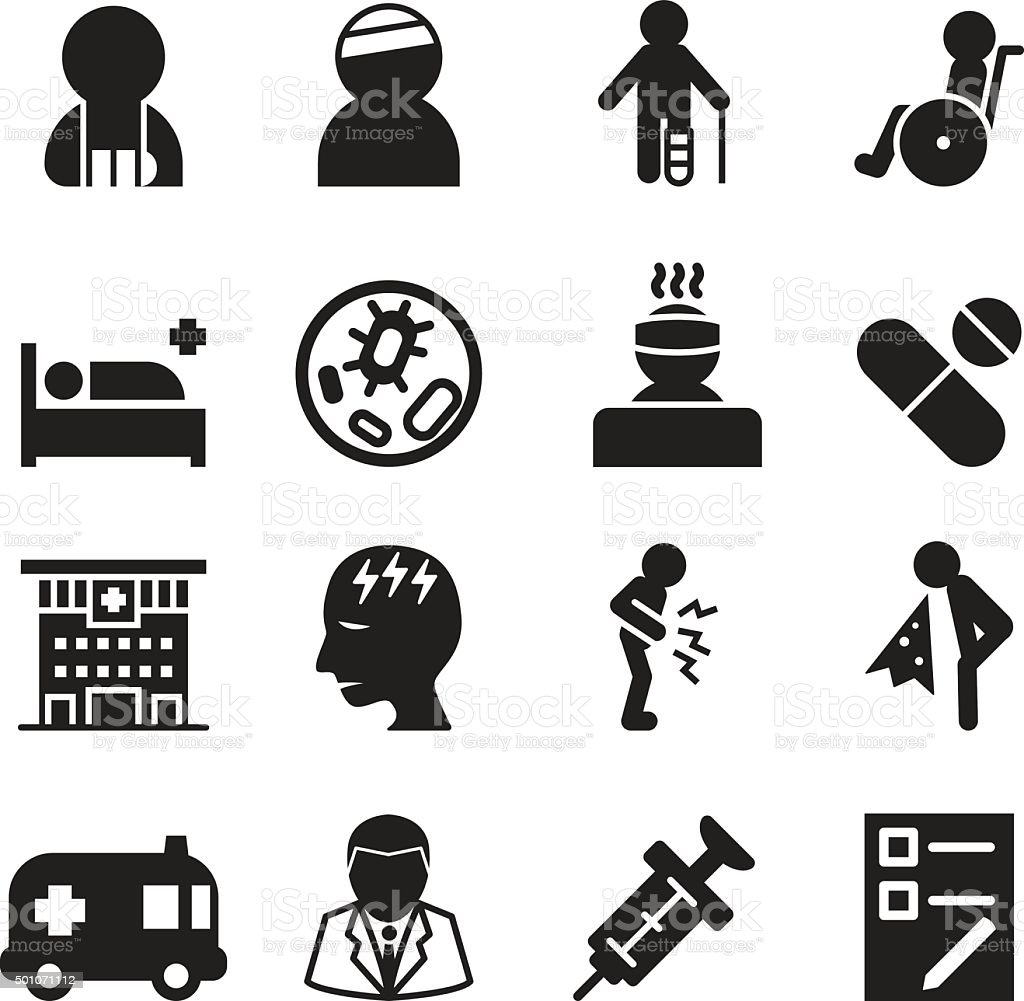 Sick & injury icons set vector illustration vector art illustration