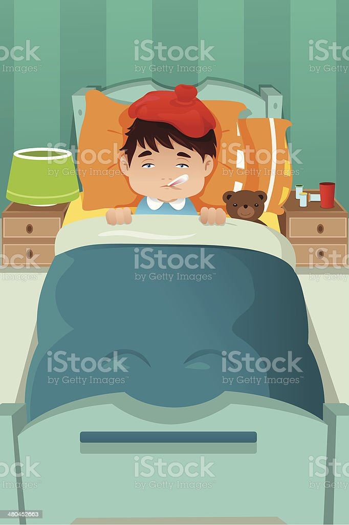 Sick kid resting royalty-free stock vector art
