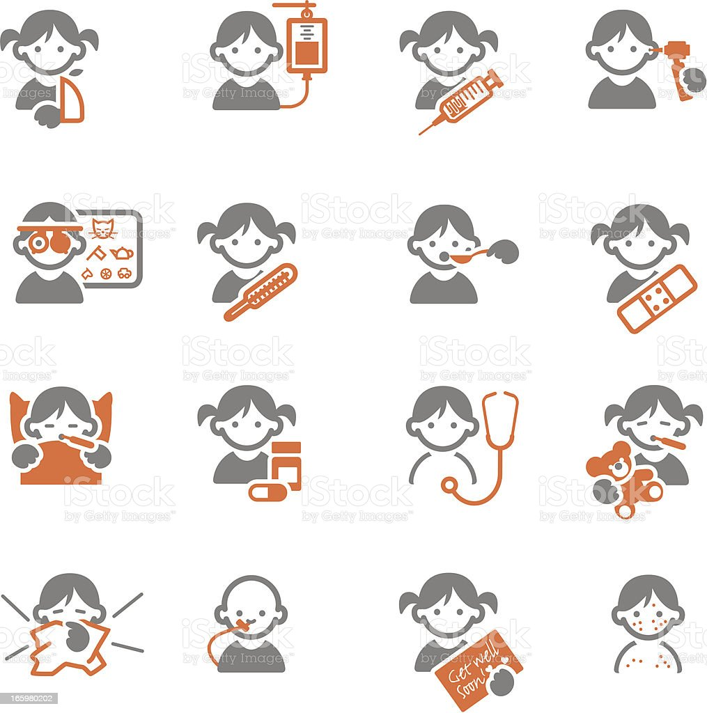 Sick Kids Medical Icons stock vector art 165980202 | iStock