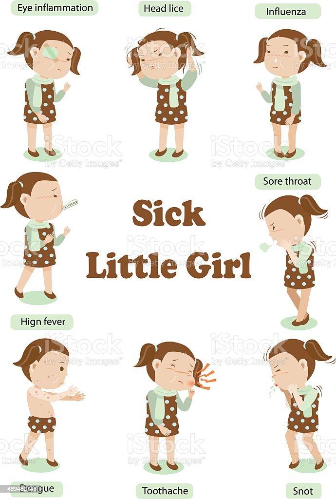 sick little girl vector art illustration