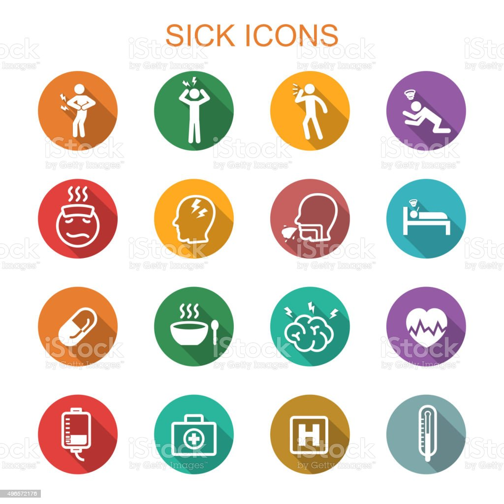 sick long shadow icons vector art illustration