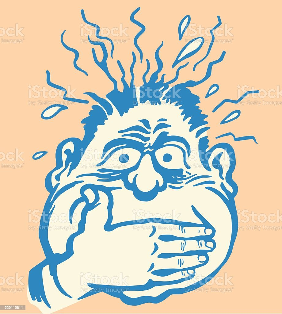 Sick Man Covering His Mouth vector art illustration