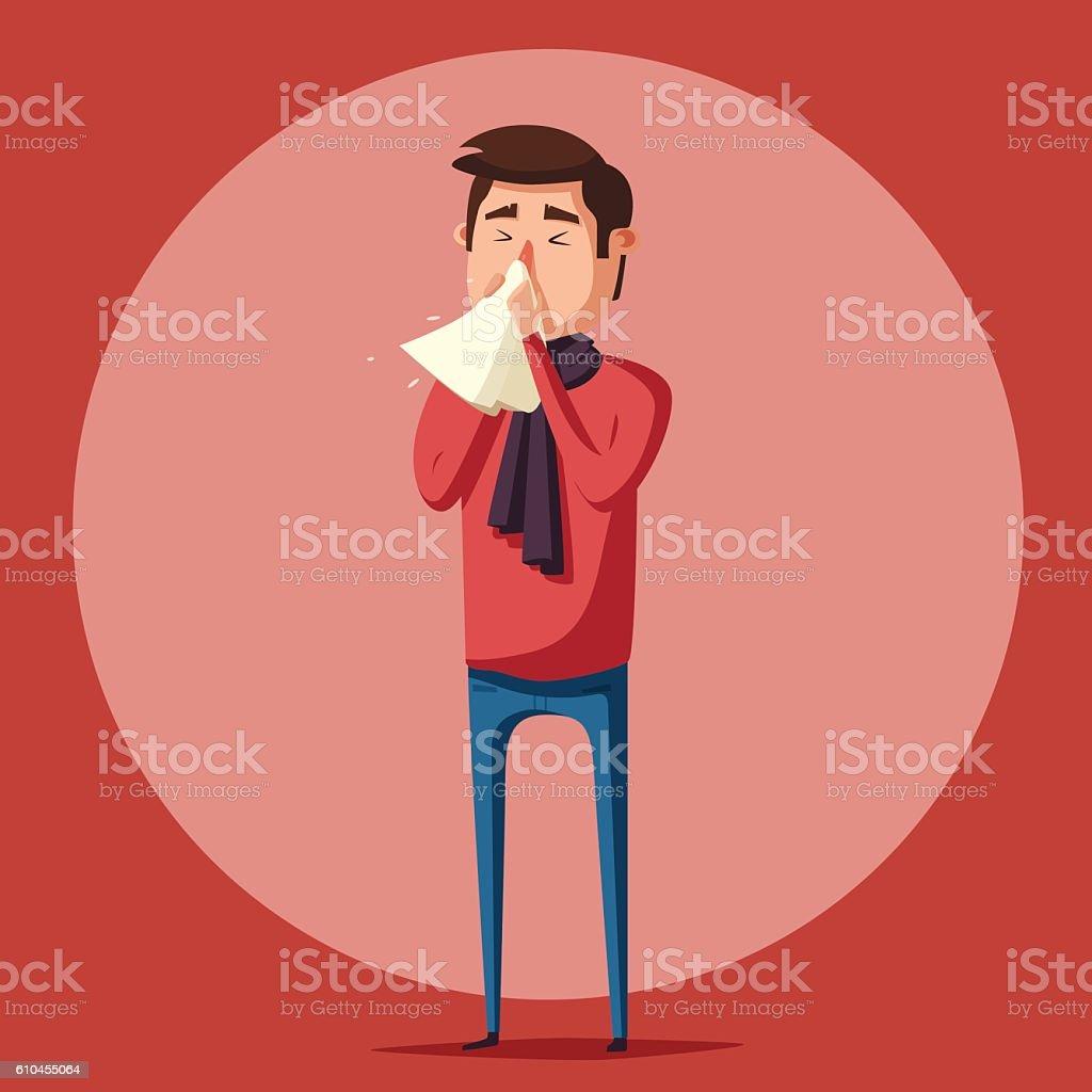 Sick man. Unhappy character. Vector cartoon illustration vector art illustration