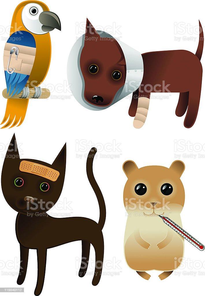 Sick Pets / Pet Insurance vector art illustration