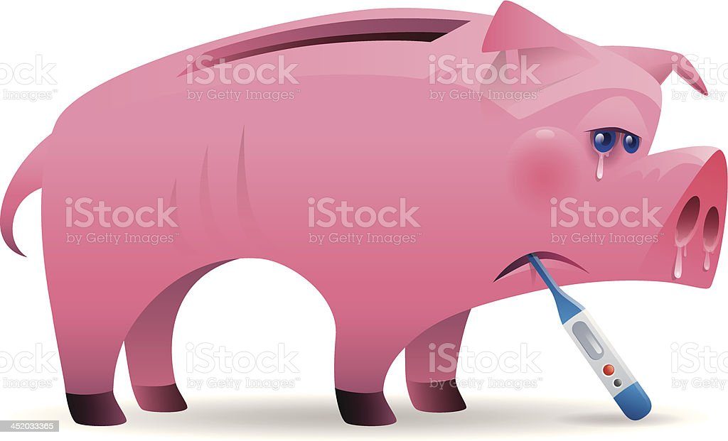sick piggy bank vector art illustration