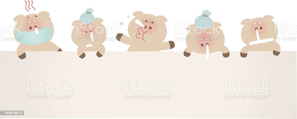Sick pigs holding a blank sign for your message vector art illustration