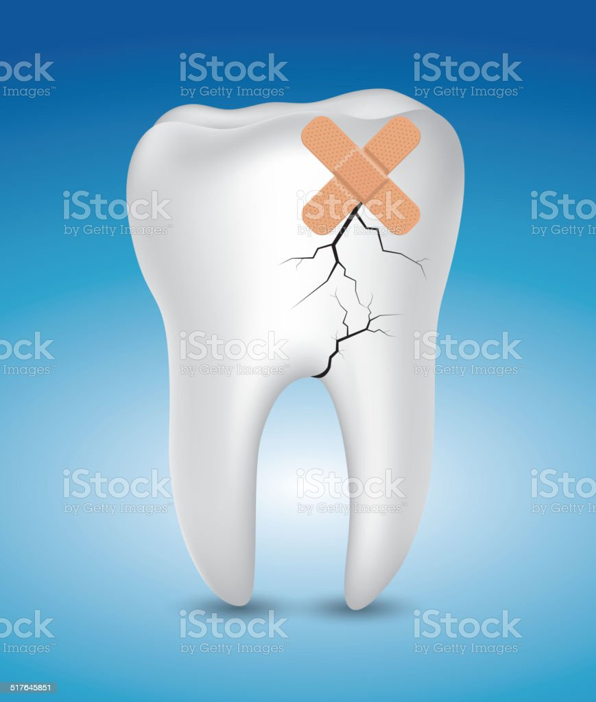 Sick tooth vector art illustration