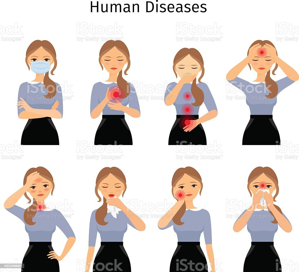 Sick woman icons vector art illustration