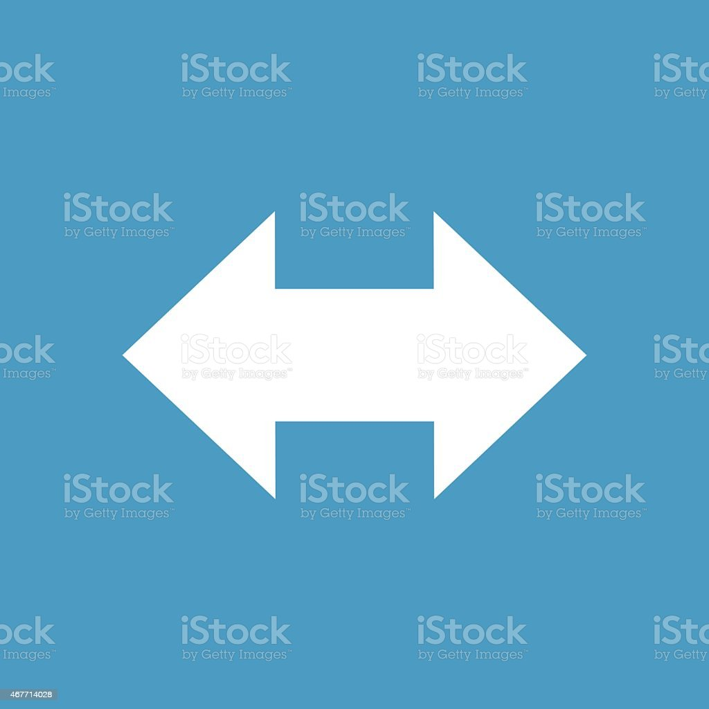 2 side arrow icon, white on the blue background vector art illustration