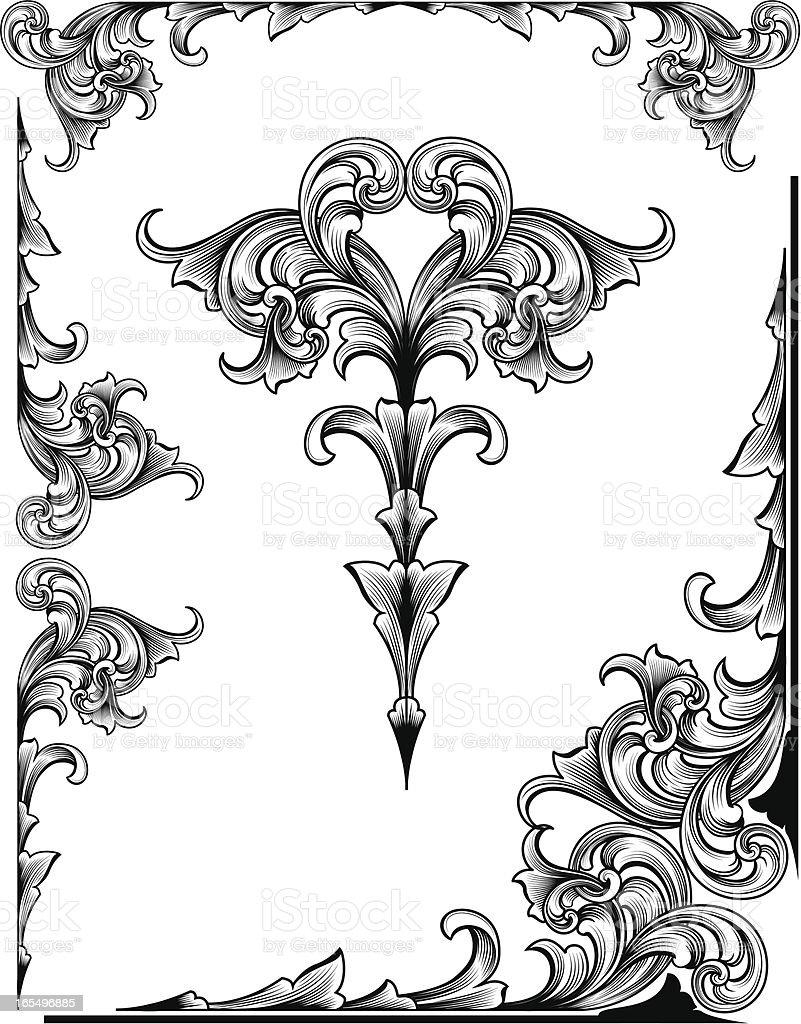 Side Scrolls Set vector art illustration