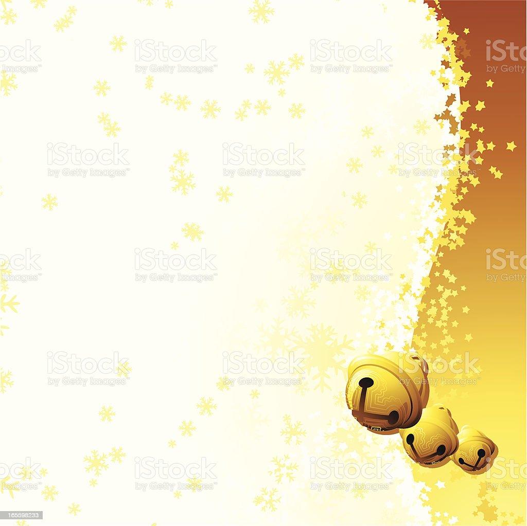 Side Strip Xmas Golden Bells vector art illustration