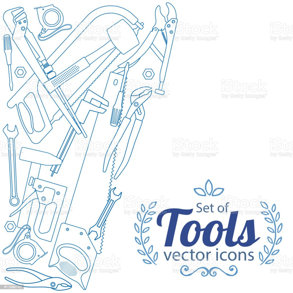 Side vertical border with repair tools icons vector art illustration