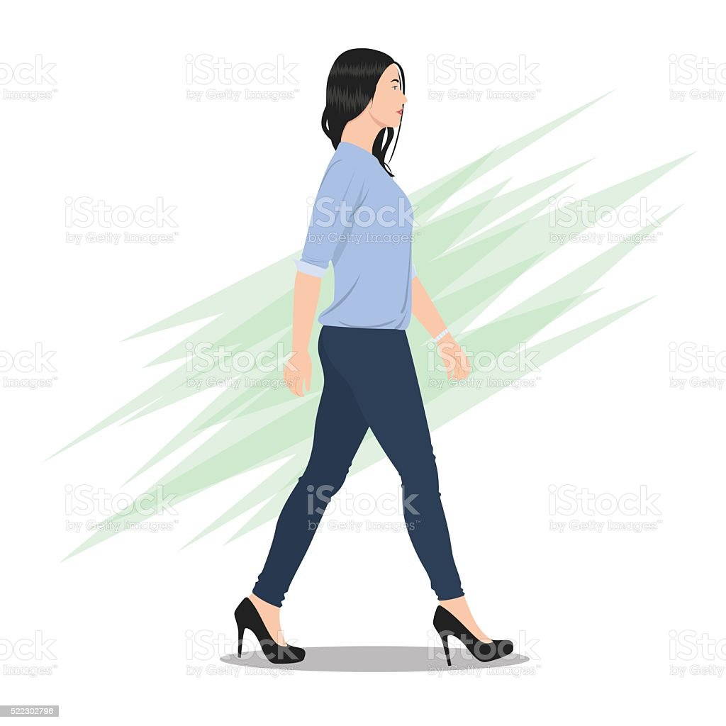 Side View of a Beautiful Woman Walking vector art illustration