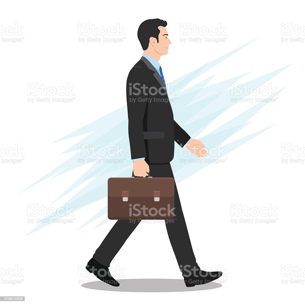 Side View of a Businessman Walking Forward vector art illustration