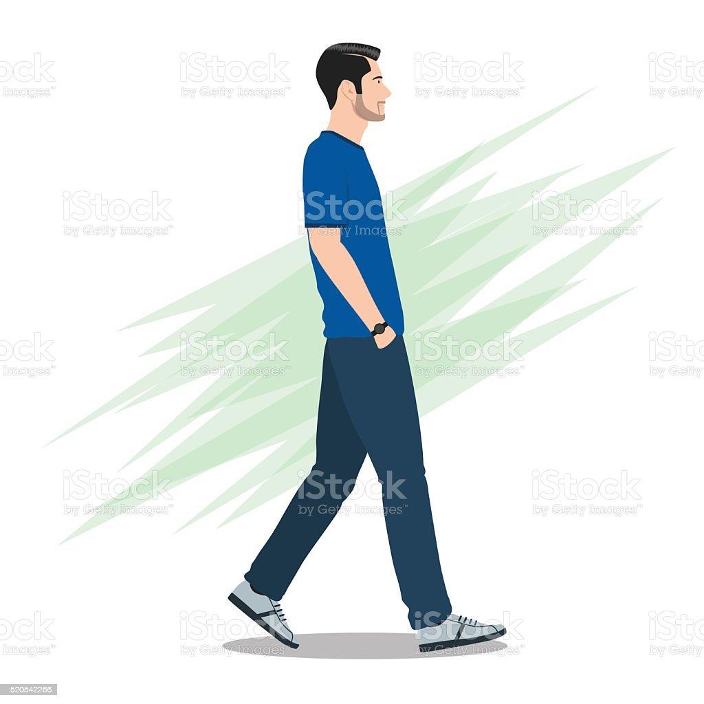 Side View of a Man Walking Forward vector art illustration