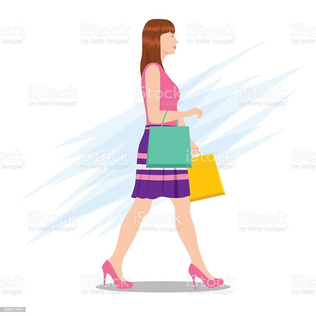 Side View of a Woman Walking with Shopping Bags vector art illustration