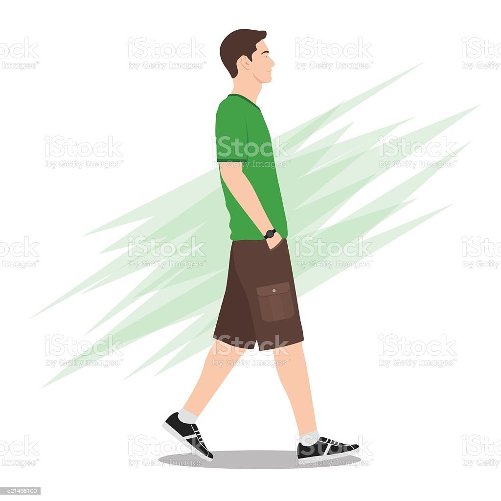 Side View of a Young Man in Shorts Walking vector art illustration