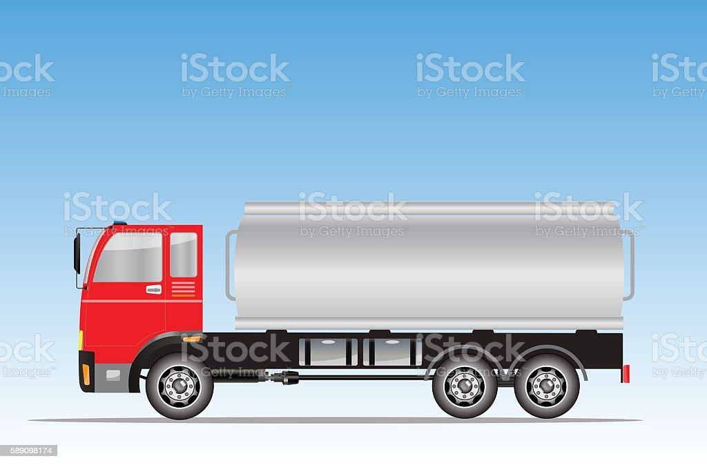 Side view of Big Oil Tanker truck vector art illustration