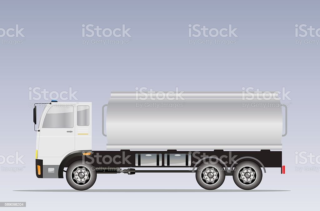 Side view of Big Oil Tanker truck vector art illustration