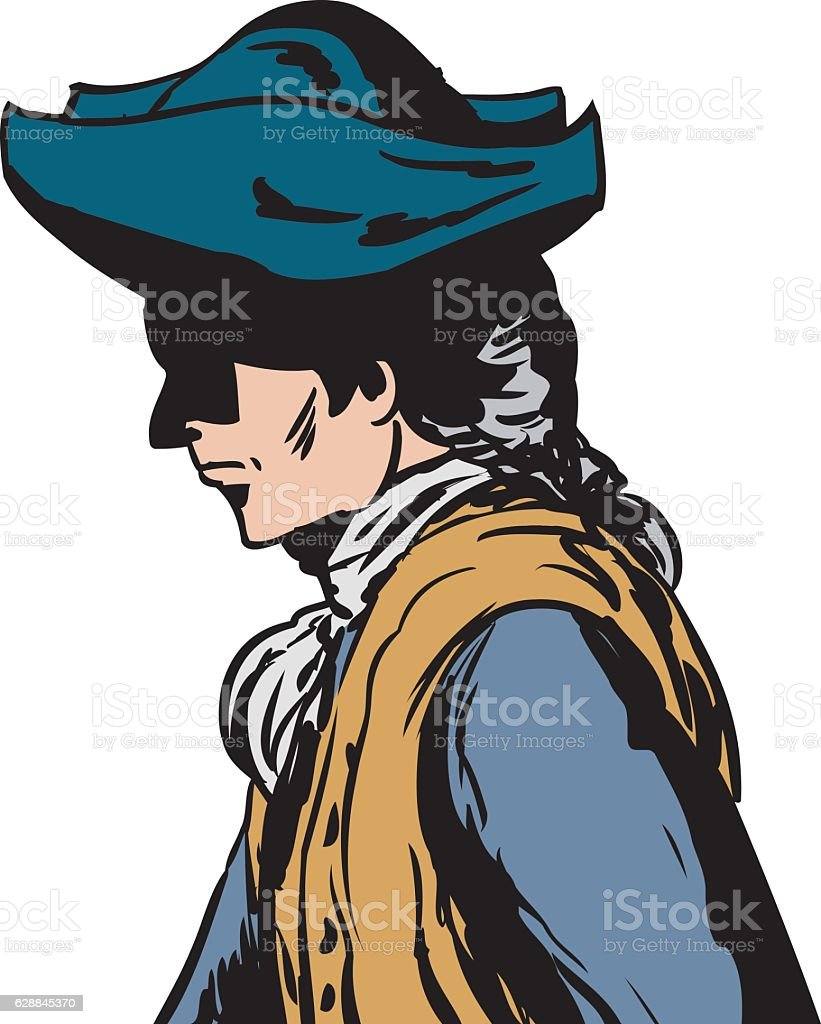 Side view of man in tricorn hat vector art illustration