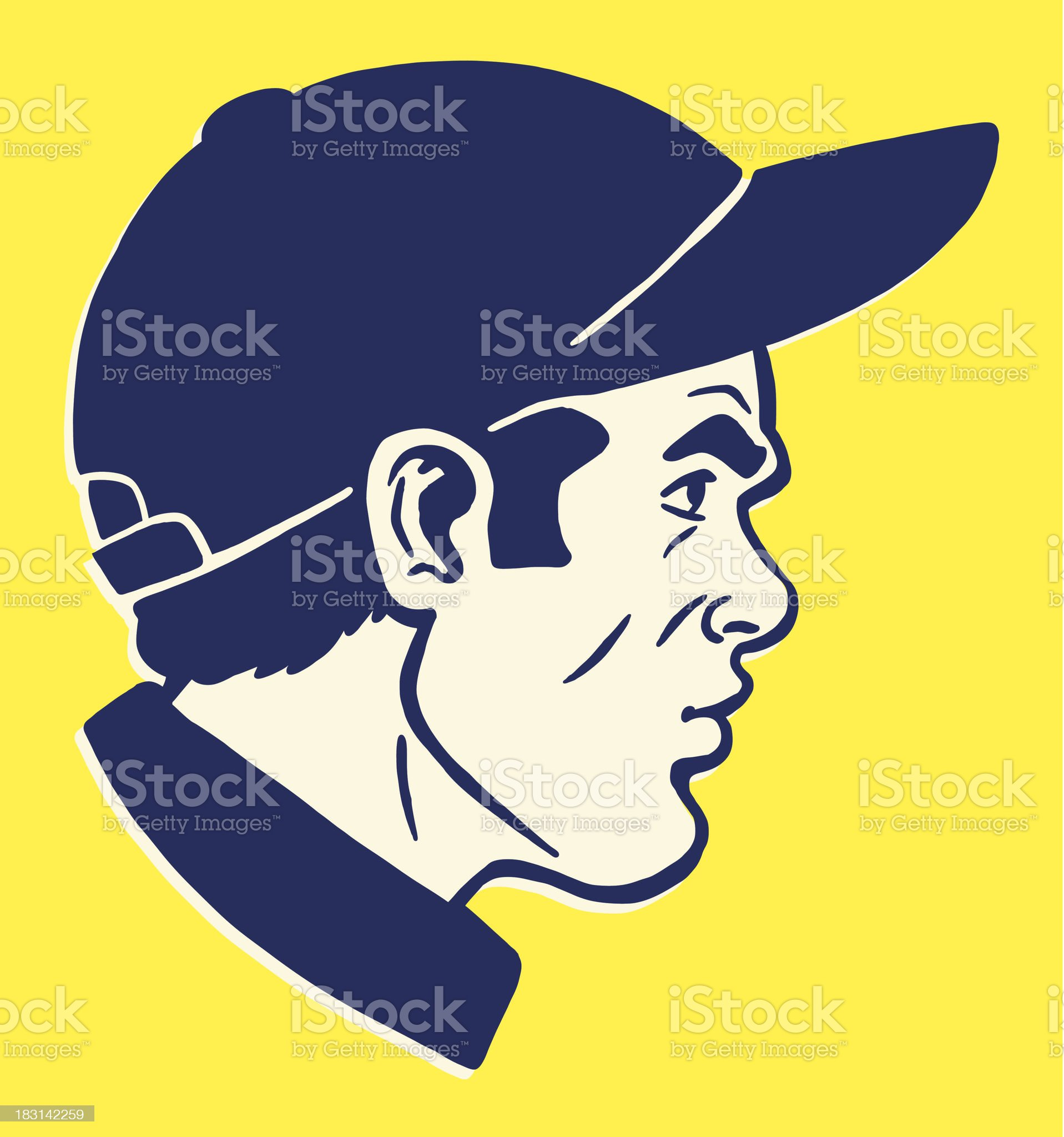 Side View of Man Wearing Baseball Hat royalty-free stock vector art