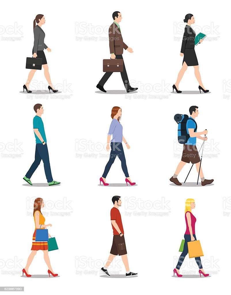 Side View of Men and Women Walking vector art illustration