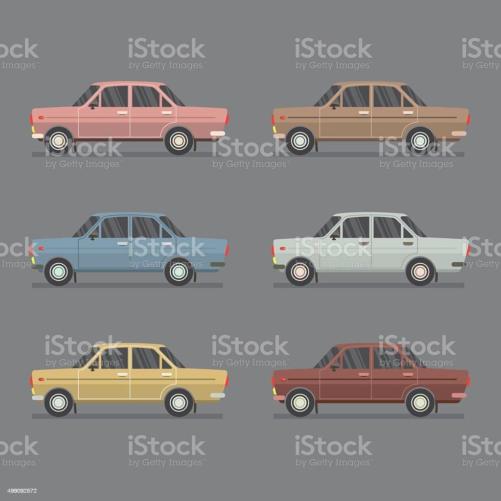 Side View Of Sedan Cars. vector art illustration